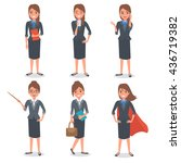 businesswoman in different... | Shutterstock .eps vector #436719382