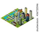 set of isometric buildings in...   Shutterstock . vector #436720546