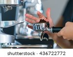 barista making coffee... | Shutterstock . vector #436722772