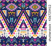 multicolor tribal Navajo vector seamless pattern. aztec fancy abstract geometric art print.  ethnic hipster backdrop. Wallpaper, cloth design, fabric, paper, cover, textile, weave, wrapping.  | Shutterstock vector #436725412