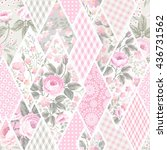 seamless floral patchwork... | Shutterstock .eps vector #436731562