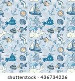 cartoon hand drawn seamless...   Shutterstock .eps vector #436734226