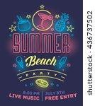 summer beach party poster.... | Shutterstock .eps vector #436737502