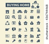 buying home icons | Shutterstock .eps vector #436744468