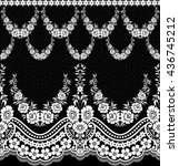 black damask vintage floral... | Shutterstock .eps vector #436745212