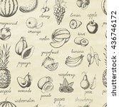 set of fruits. seamless pattern.... | Shutterstock .eps vector #436746172
