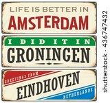 netherlands cities retro metal... | Shutterstock .eps vector #436747432