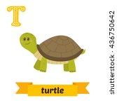 turtle. t letter. cute children ... | Shutterstock .eps vector #436750642