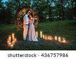 young beautiful couple on the... | Shutterstock . vector #436757986