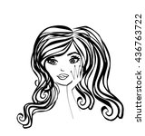 abstract beautiful woman doodle ... | Shutterstock . vector #436763722