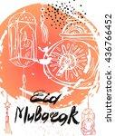 eid mubarak lettering hand... | Shutterstock .eps vector #436766452