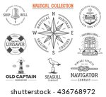 vintage nautical stamps set.... | Shutterstock .eps vector #436768972