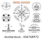 vintage nautical stamps set.... | Shutterstock .eps vector #436768972