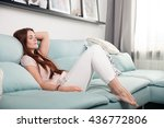 happy young woman lying on... | Shutterstock . vector #436772806