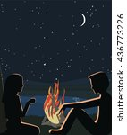 people sitting about fire at...   Shutterstock .eps vector #436773226