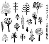 vector set of cute trees drawn... | Shutterstock .eps vector #436781116
