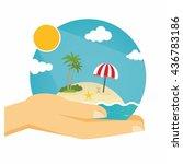 hands holding summer beach... | Shutterstock .eps vector #436783186