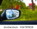 car mirror. motion. sky. speed. ... | Shutterstock . vector #436789828