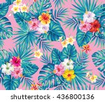 tropical seamless pattern with... | Shutterstock .eps vector #436800136