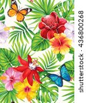 tropical seamless pattern with... | Shutterstock .eps vector #436800268