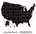 usa administrative map   puzzle | Shutterstock .eps vector #436803022