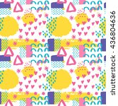 memphis abstract seamless... | Shutterstock .eps vector #436804636