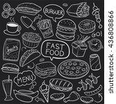blackboard fast food doodle... | Shutterstock .eps vector #436808866