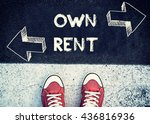 Small photo of Student standing above the sign for own and rent,dilemma concept