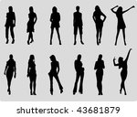 girls fashion silhouette | Shutterstock .eps vector #43681879