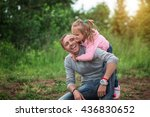 daddy cuddling with his little... | Shutterstock . vector #436830652