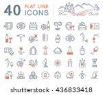 set vector line icons in flat... | Shutterstock .eps vector #436833418