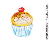 yellow muffin with chocolate... | Shutterstock .eps vector #436833436