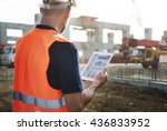 construction worker planning... | Shutterstock . vector #436833952