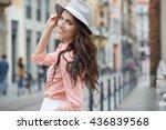 beautiful woman walking and... | Shutterstock . vector #436839568