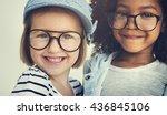 Black White Girls Happy Concept