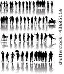 many people with reflections | Shutterstock .eps vector #43685116