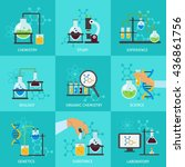chemical experimental icon set... | Shutterstock .eps vector #436861756