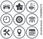 clock  wifi and stars icons.... | Shutterstock . vector #436888276