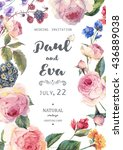vintage watercolor floral... | Shutterstock .eps vector #436889038
