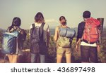 backpacker camping hiking... | Shutterstock . vector #436897498