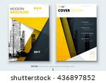 Yellow cover design for brochure. Creative poster, booklet, leaflet or flyer concept. Corporate business template for report, catalog, magazine. Layout with modern flat ribbons and urban style photo. | Shutterstock vector #436897852