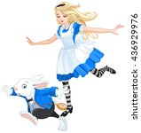 illustration of alice chasing... | Shutterstock .eps vector #436929976