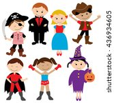 children party costume. kids... | Shutterstock .eps vector #436934605