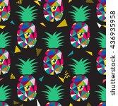 pineapple seamless pattern... | Shutterstock .eps vector #436935958