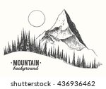 sketch of a mountains with fir... | Shutterstock .eps vector #436936462