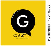 letter g on bubble talk icon as ... | Shutterstock .eps vector #436936738