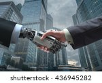 Business Human And Robot Hands...