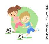 boy and girl dribble soccer... | Shutterstock .eps vector #436952032