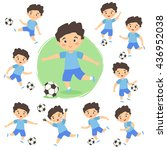set of boy playing football.... | Shutterstock .eps vector #436952038