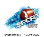pattern design with rugby ball  ... | Shutterstock .eps vector #436959022